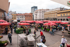 Unidentified people on a busy day at Dolac market in Zagreb Stock Images