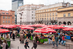 Unidentified people on a busy day at Dolac market in Zagreb Royalty Free Stock Photos