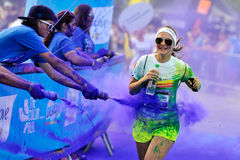 Unidentified people at The Color Run stock images