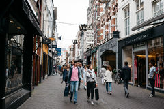 Unidentified people in commercial street in the city centre of royalty free stock photos