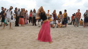 Unidentified people dancing on the beach. Goa, India – February 28, 2015: Unidentified people dancing on the beach stock video footage