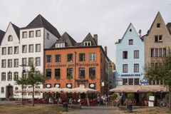 Unidentified people and details of the old and beautiful town of Cologne, one of the most popular destinations in the North Rhine stock photo