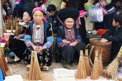 Unidentified people of diferent ethnic groups in Lung Phin market Stock Image