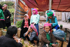 Unidentified people of diferent ethnic groups in Lung Phin market Stock Photos
