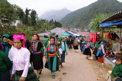 Unidentified people of diferent ethnic groups in Lung Phin market Royalty Free Stock Photos