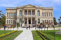 Unidentified people at Dolmabahce Palace in Istanbul, Turkey stock image