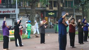 Unidentified people exercising in the park. Hanoi, Vietnam, Unidentified people exercising in the park stock footage