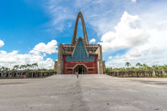 Unidentified people in front of basilica La Altagracia Church in Higuey, Dominican Republic Royalty Free Stock Photography