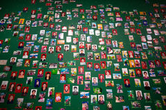 Unidentified people on a green wall in an art exhibition in Shan Stock Image
