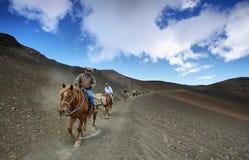 Unidentified people horseback riding Royalty Free Stock Image