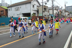 Unidentified people joint to the parade for kawagoe festival, Ja Royalty Free Stock Images