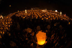 Unidentified People launch sky lanterns to the sky in Loy Kratong festival Stock Photos