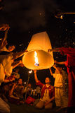Unidentified People launch sky lanterns to the sky in Loy Kratong festival Royalty Free Stock Image
