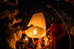 Unidentified People launch sky lanterns to the sky in Loy Kratong festival Stock Photography