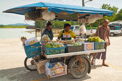 Unidentified people on the local market in Khao Lak Royalty Free Stock Images