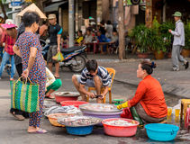 Unidentified people make a sea-food trading in Centre Market in Hochiminh city, Vietnam Stock Images