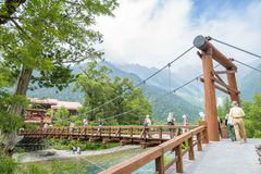 Unidentified people relax at Kamikochi in Nagano Japan on 12 July 2016. Royalty Free Stock Image