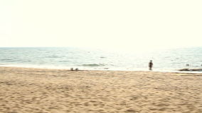 Unidentified people relaxing on the beach. Goa state Querim beach. stock footage