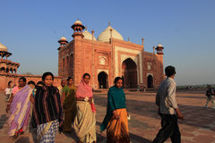 Unidentified people from rural villages visit the white marble mausoleum Taj Mahal  in Agra,India Royalty Free Stock Images
