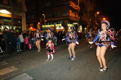 Unidentified people in Sants Street carnival parade Stock Photos