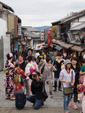 Unidentified people sightsee Kiyomizu area. Kyoto, Japan - June 28, 2014 : Unidentified people sightsee Kiyomizu area. Kiyomizu temple and is one of the most Stock Images