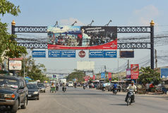 Unidentified people in the Thai-Cambodian border town Stock Images
