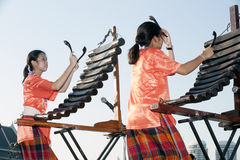 Unidentified people of Thai music band playing song by Pong Lang Traditional Thai musical instruments. Stock Images