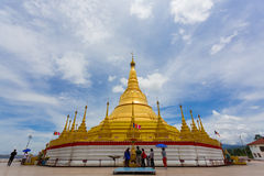 Unidentified people traveling at replica of Shwedagon pagoda Royalty Free Stock Photos