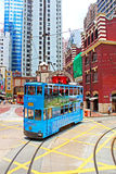 Unidentified people using city tram in Hong Kong Royalty Free Stock Image