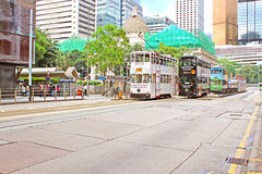 Unidentified people are using city trams in Hong Kong Royalty Free Stock Photo
