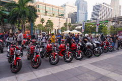 Unidentified people with variety of superbikes in public festival in Bangkok, Thailand. Royalty Free Stock Images