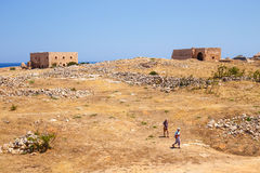 Unidentified people visit Venetian fortress Fortezza in Rethymno, Greece Royalty Free Stock Photography