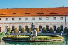 Unidentified people visit Wallenstein Palace currently the home of the Czech Senate in P. Prague, Czech Republic - August 29, 2017: unidentified people visit Stock Photo