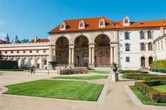 Unidentified people visit Wallenstein Palace currently the home of the Czech Senate in P. Prague, Czech Republic - August 29, 2017: unidentified people visit Stock Images