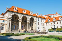 Unidentified people visit Wallenstein Palace currently the home of the Czech Senate in P. Prague, Czech Republic - August 29, 2017: unidentified people visit Stock Image