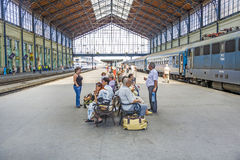 Unidentified people wait at  the train station in Budapest Royalty Free Stock Photography