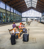 Unidentified people wait at  the train station in Budapest Royalty Free Stock Image