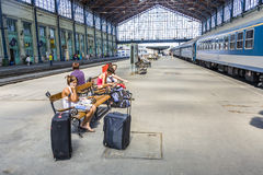 Unidentified people wait at  the train station in Budapest Stock Photography