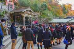 unidentified  People Waiting for Water in Kiyomizu-dera Shrine Temple Royalty Free Stock Photos