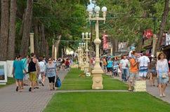 Unidentified people are walking in Kabardinka Royalty Free Stock Photo