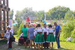 Unidentified people walking on the Sorochintsy Fair Royalty Free Stock Photography