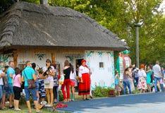 Unidentified people walking on the Sorochintsy Fair. Velyki Sorochyntsi, Ukraine - August 20, 2016: Unidentified people walking on the Sorochintsy Fair in Velyki Royalty Free Stock Photography