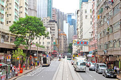 Unidentified people are walking on the street in Hong Kong Royalty Free Stock Images
