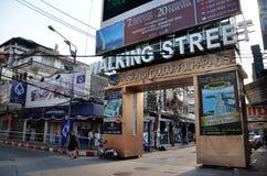 Unidentified people on a Walking Street in Pattaya Stock Photos