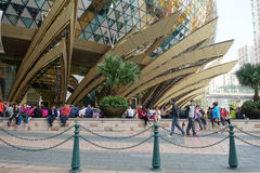 Unidentified people walks around the Casino Lisboa in Macau Royalty Free Stock Photos