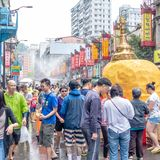 Unidentified people in water fight for Songkran Festival royalty free stock photography