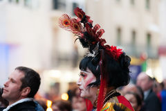 Unidentified person at procession of burial Carnestoltes at Sit Stock Image