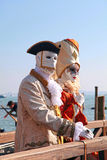 Unidentified persons in Venetian mask, Carnival of Venice, Italy Stock Photography