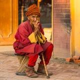 Unidentified pilgrim circle stupa Boudhanath  in Kathmandu Stock Images