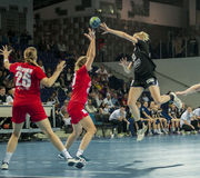 Unidentified players in action at Handball match Royalty Free Stock Images